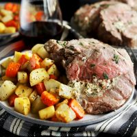 Herb Goat Cheese Stuffed Leg of Lamb