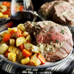 Herb goat cheese stuffed leg of lamb square photo