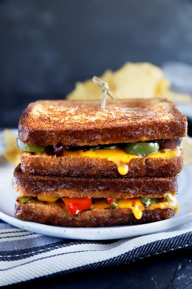 Stacked grilled cheese sandwiches