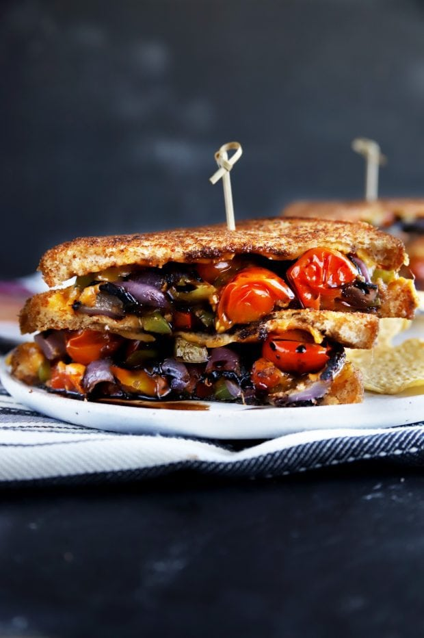 A balsamic grilled vegetables grilled cheese on a plate