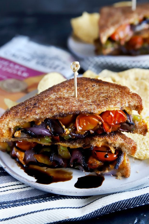 Stacked up gourmet grilled cheese sandwich