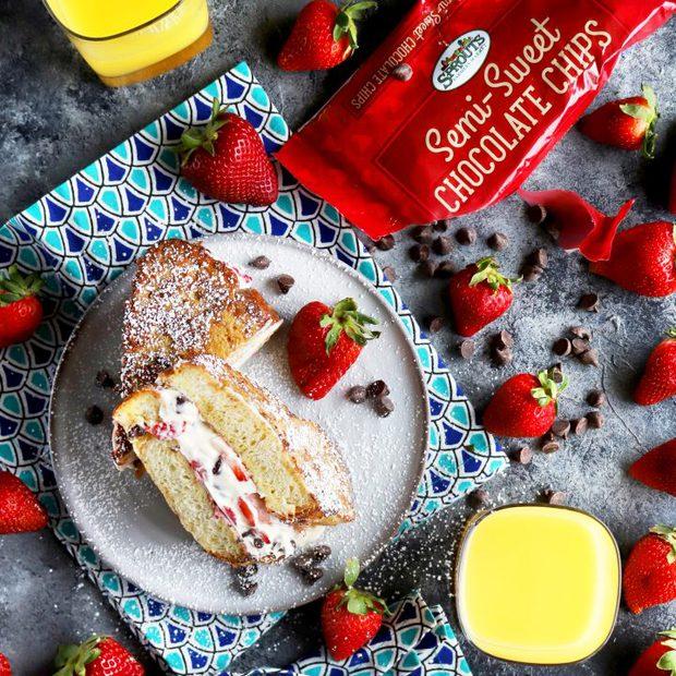 Chocolate Covered Strawberry Mascarpone Stuffed French Toast