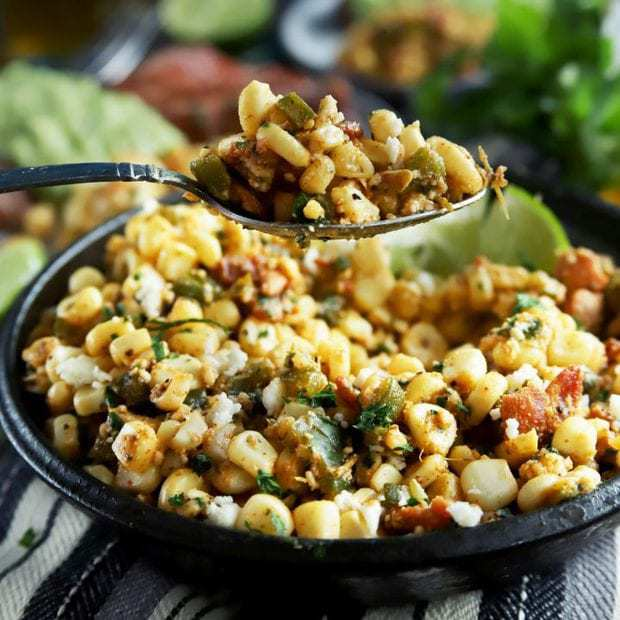 Bacon Cilantro Lime Grilled Corn Salad