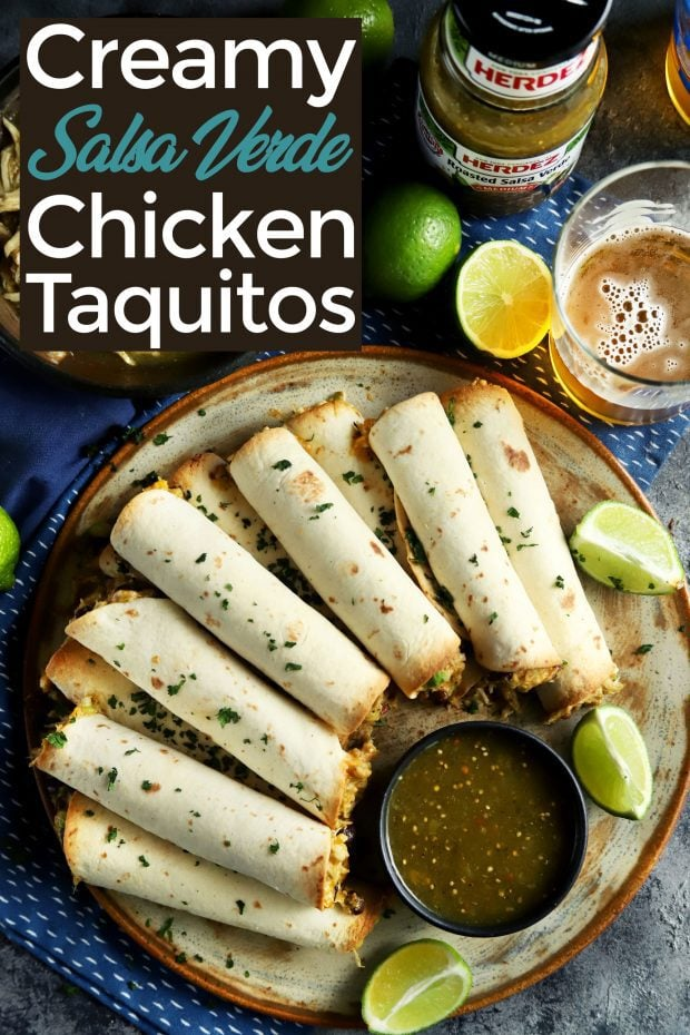Creamy chicken baked taquitos pinterest image