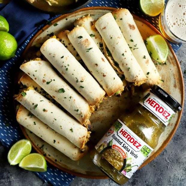 Creamy Salsa Verde Chicken Baked Taquitos