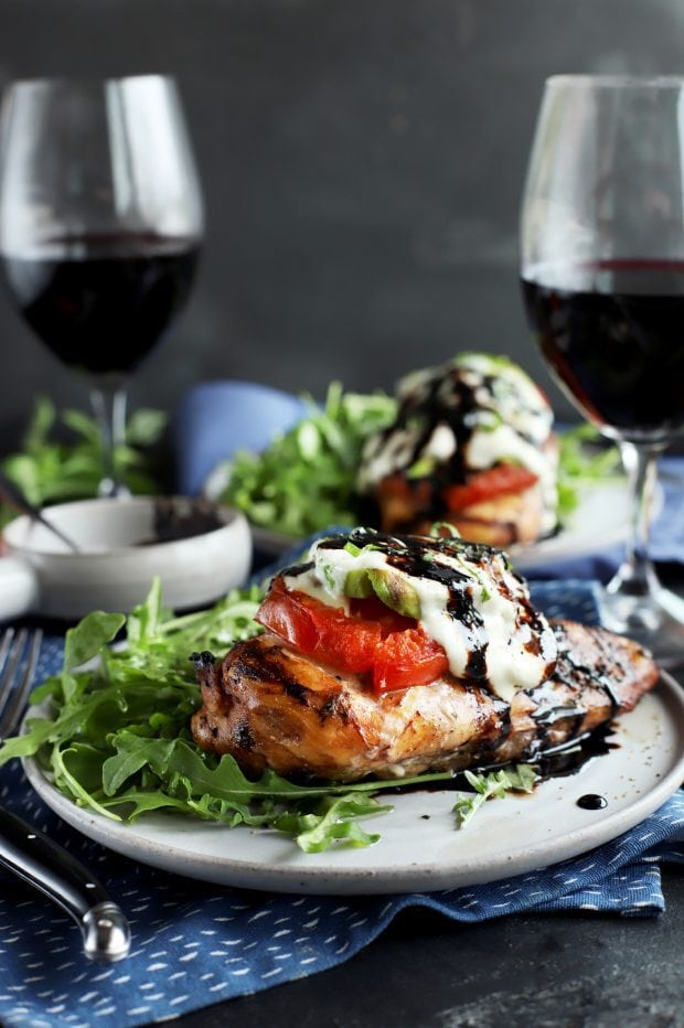 Grilled chicken on a plate with salad