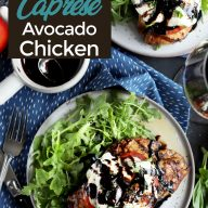 Grilled avocado caprese chicken Pinterest image