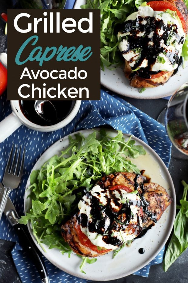 Grilled avocado caprese chicken Pinterest image