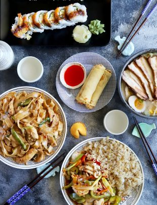 Spread of various Asian dishes
