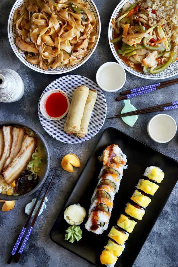 Sushi, egg rolls, ramen, and more asian dishes