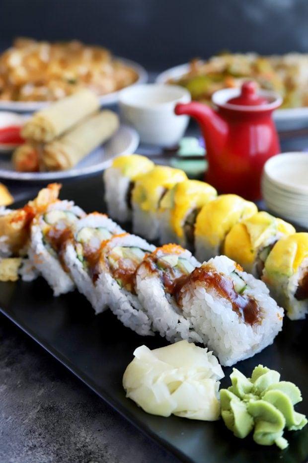 Sushi rolls on a platter