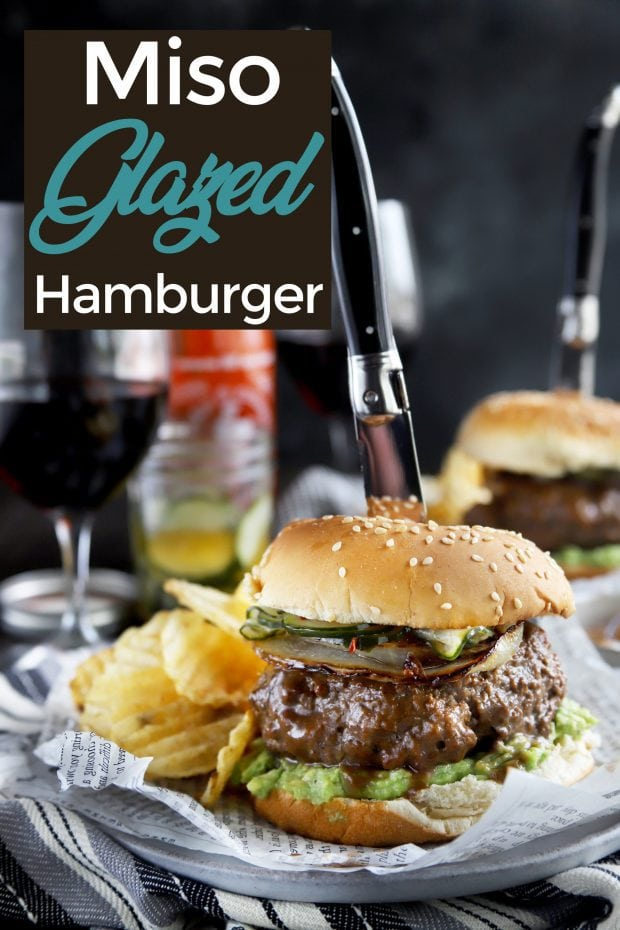 Pin image for miso glazed Sriracha burgers