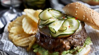 Miso Glazed Sriracha Burgers with Asian Cucumber Pickles