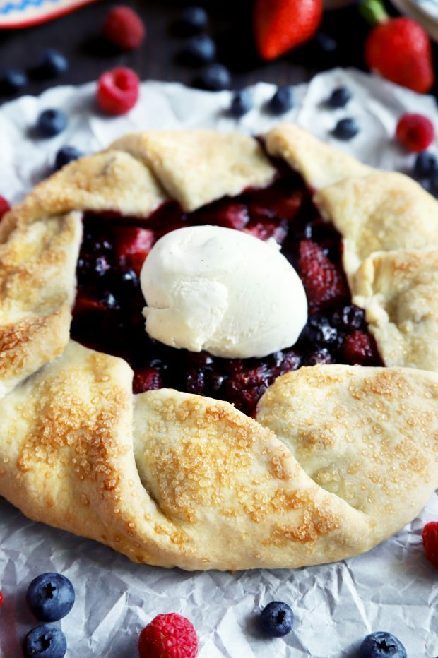 Raspberry Blueberry Strawberry Galette for Memorial Day
