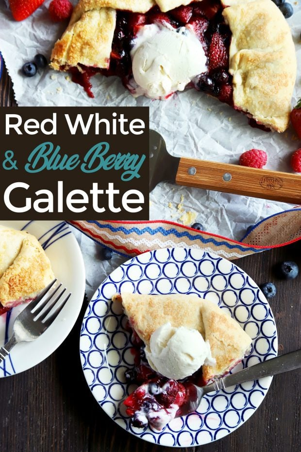 Pinterest image for the raspberry blueberry and strawberry galette
