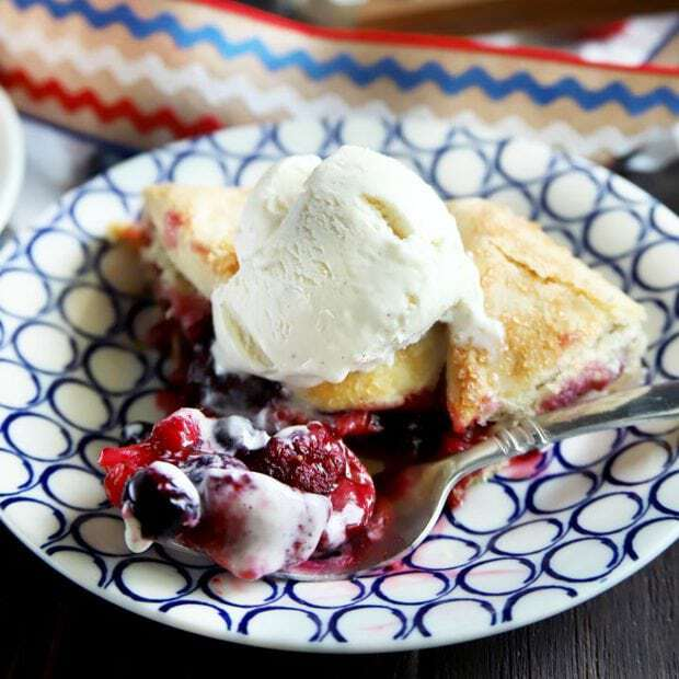 Thumbnail image of a raspberry blueberry and strawberry galette
