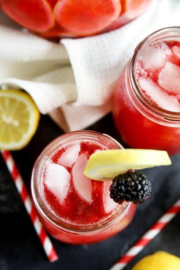 Top down view of lemonade cocktail in mason jars