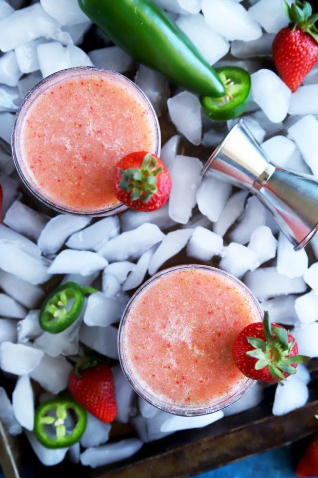 Strawberry Jalapeno Margaritas blended