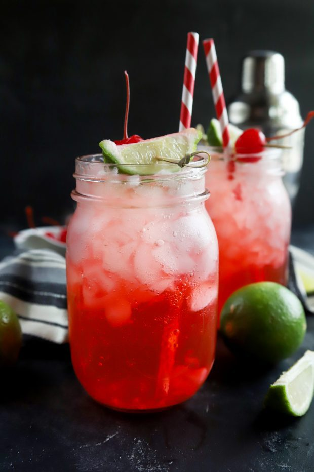 Cherry limeade cocktails in mason jars
