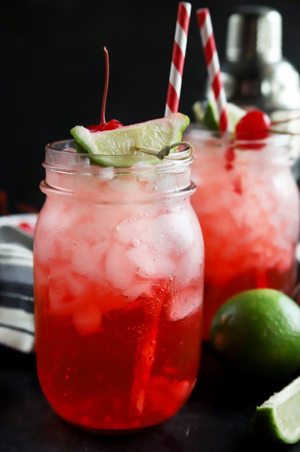 Summer cherry and lime cocktails