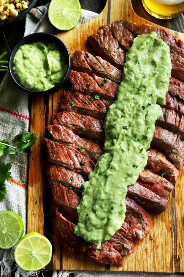Chipotle lime flank steak on a cutting board
