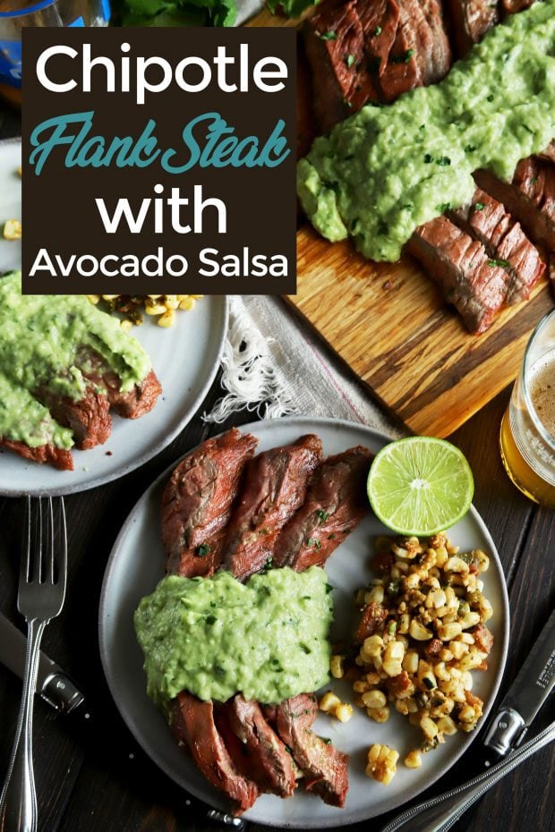 Pinterest image for chipotle lime flank steak with avocado salsa