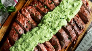 Chipotle Lime Flank Steak with Creamy Avocado Salsa