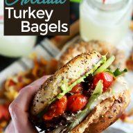 Everything Avocado Turkey Bagel Sandwiches Pinterest Image