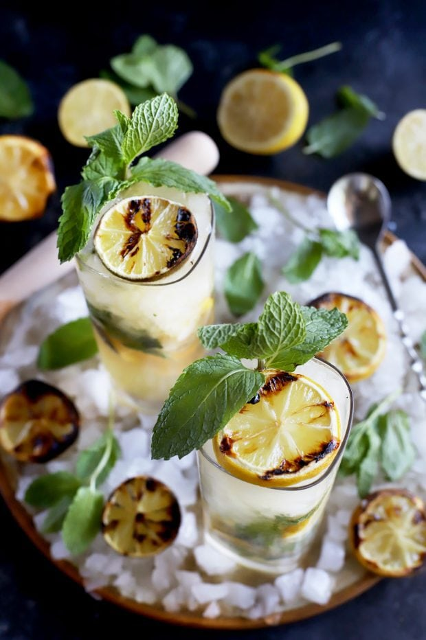 Citrus cocktail with mint and grilled