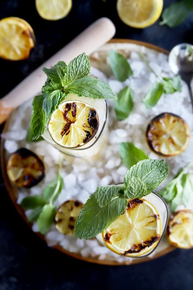 Cocktail hour for summer with citrus and mint