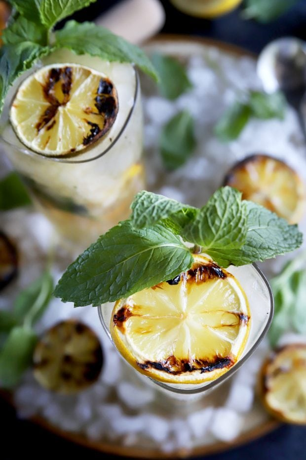 A grilled cocktail with citrus and mint