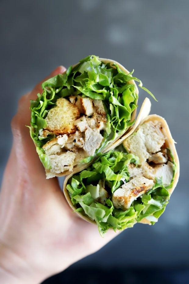 Healthy caesar salad chicken wrap from Copper Pot in Denver