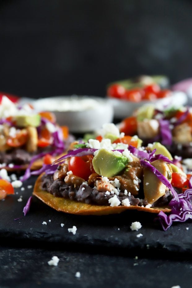 Easy chicken tostadas from the side