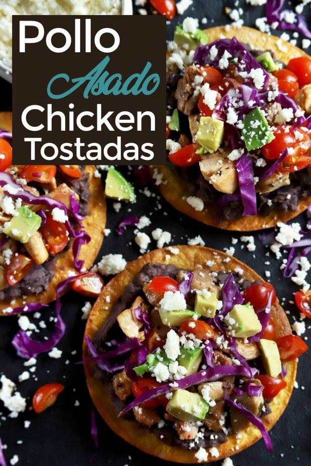 Pollo Asado chicken tostadas Pinterest image