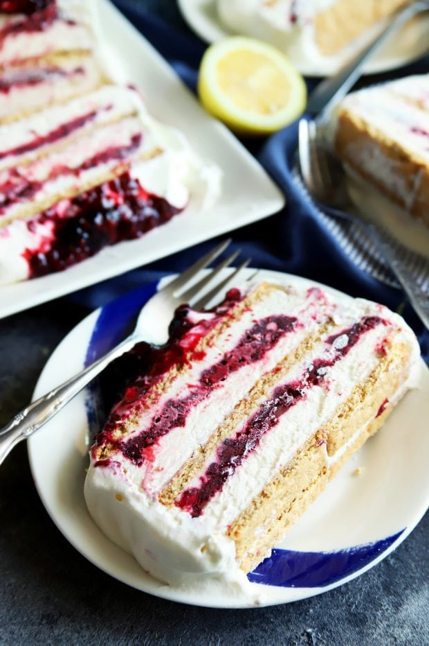 Blackberry lemon icebox cake slice