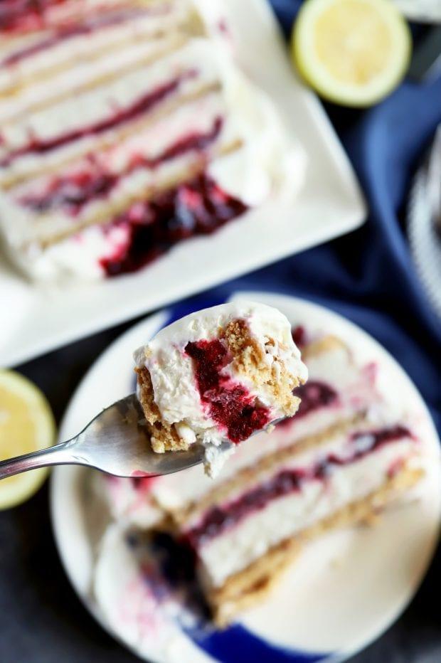 Bite of layered frozen dessert