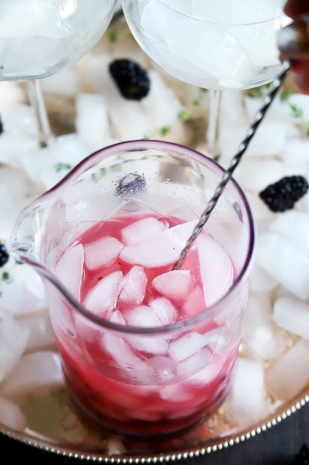 Making a fruity gin and tonic cocktail