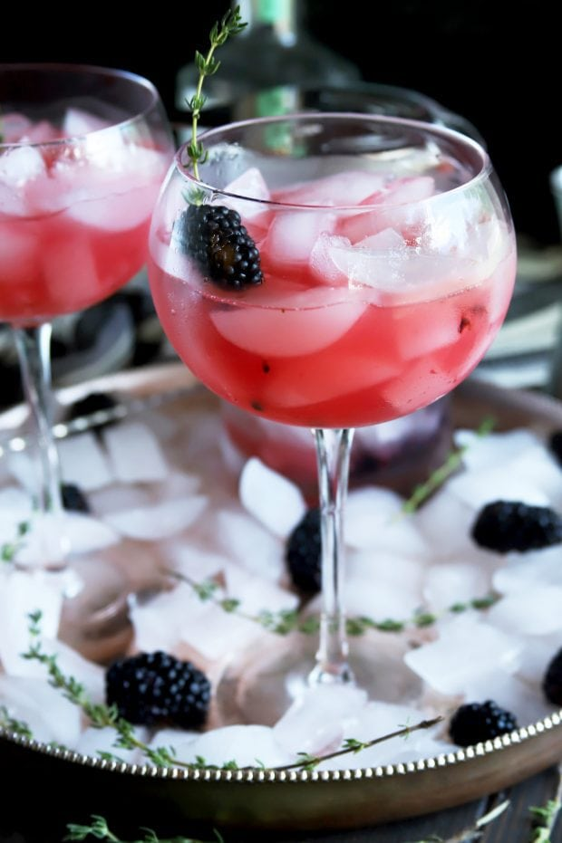 Fruity gin cocktail in big wine glasses