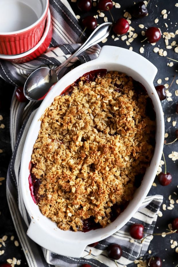 Crumble dessert in a baking dish