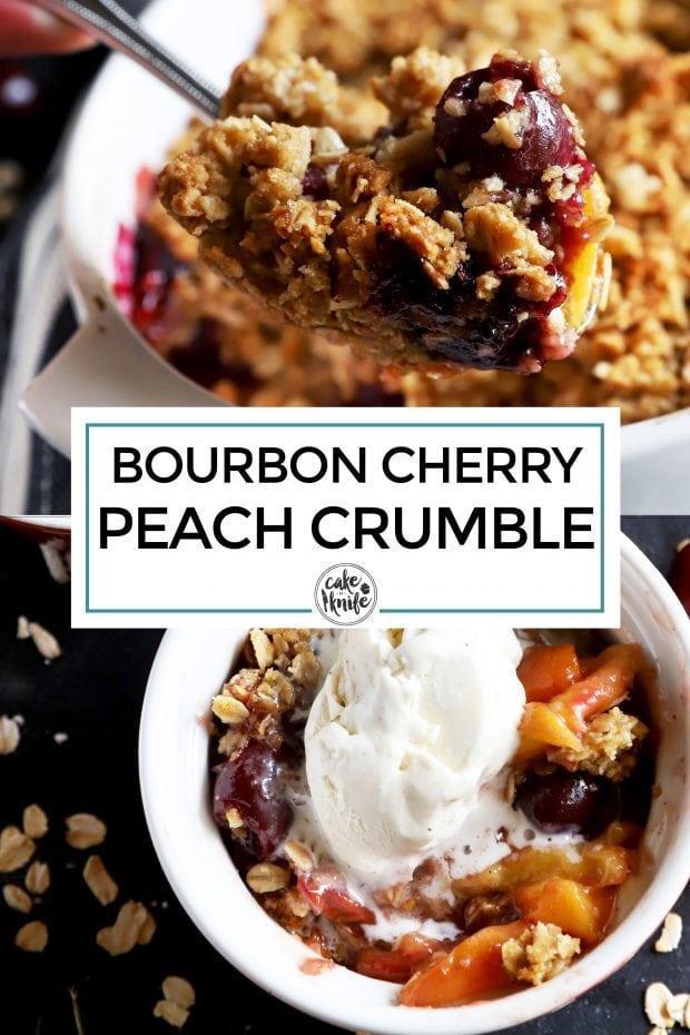 Bourbon cherry peach crumble Pinterest image