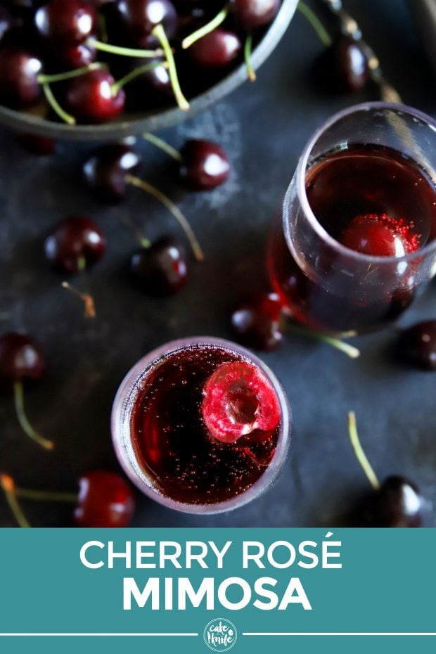 Pinterest image of cherry rose mimosa cocktail