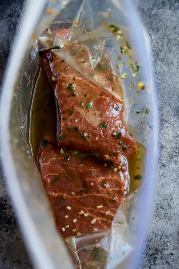 Flat iron steak in a marinade