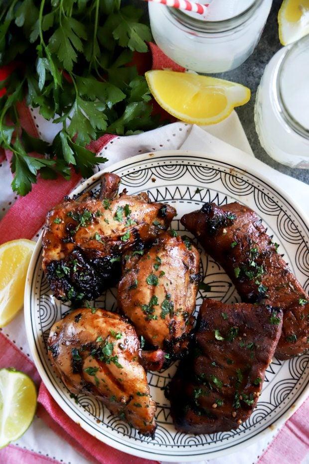 Grilled chicken thighs and steak