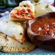 Pinterest image for poblano enchilada chicken empanadas