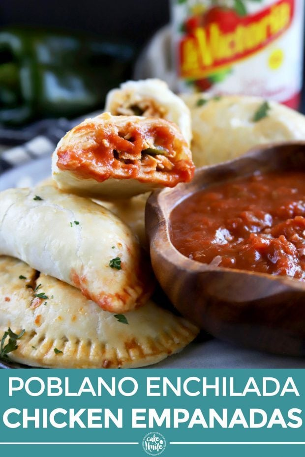 Pinterest image for poblano enchilada chicken empanadas