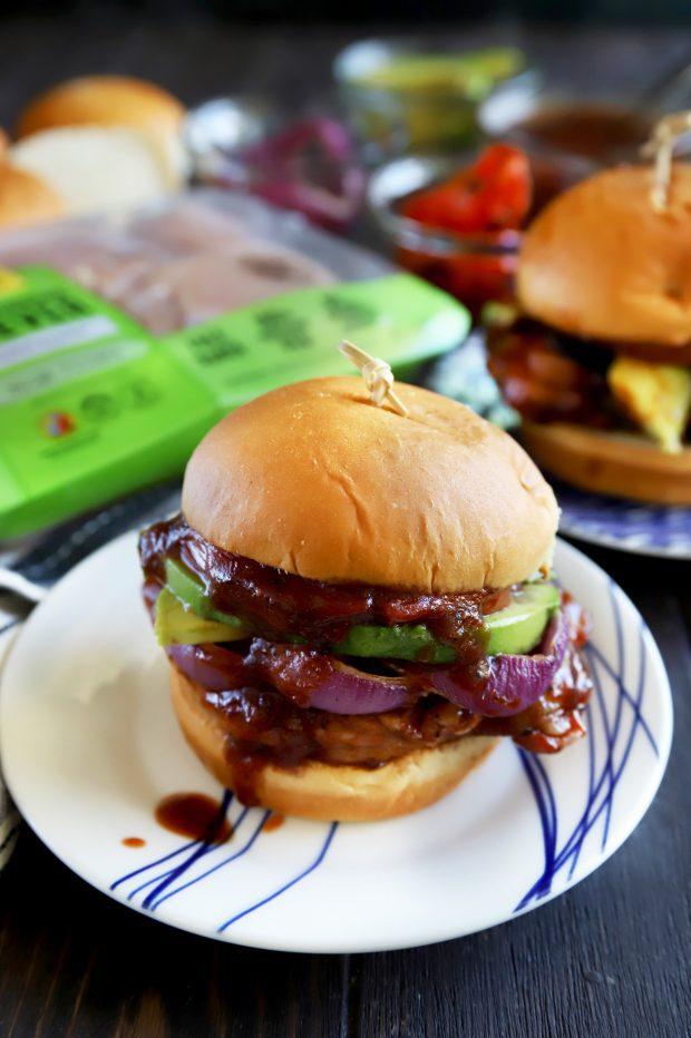 Spicy BBQ chicken on a sandwich bun