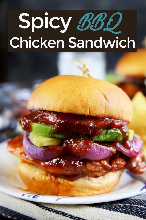 Spicy BBQ Chicken Sandwich Pinterest image