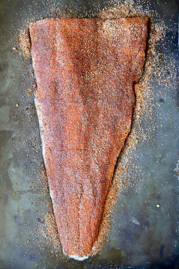 Raw salmon filet with spice rub