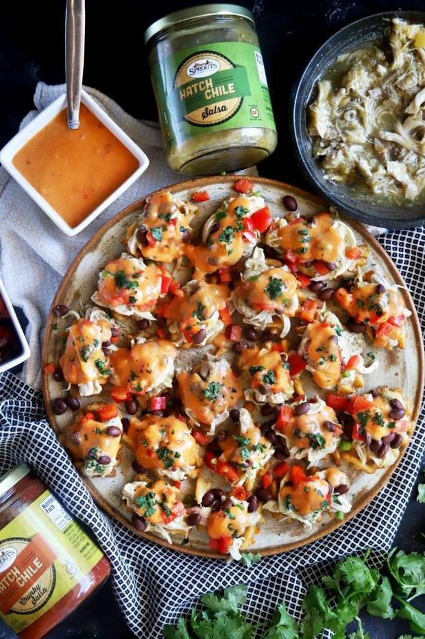 Top down photograph of chicken nachos