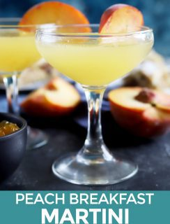 Peach breakfast martini Pinterest image